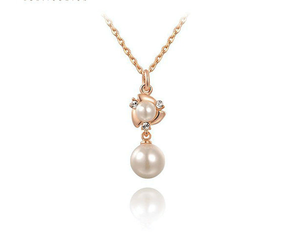 18K Rose Gold Plated Victoria Necklace with Simulated Diamond
