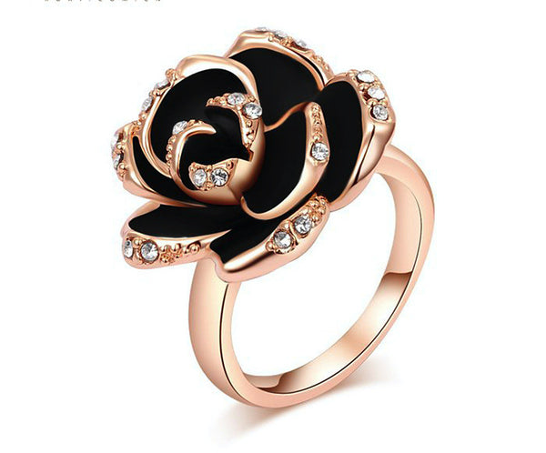 18K Rose Gold Plated Victoria Ring with Simulated Diamond