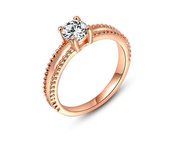 18K Rose Gold Plated Vivian Ring with Simulated Diamond
