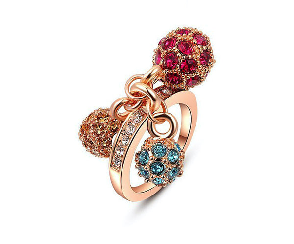 18K Rose Gold Plated Willow Ring with Simulated Diamond