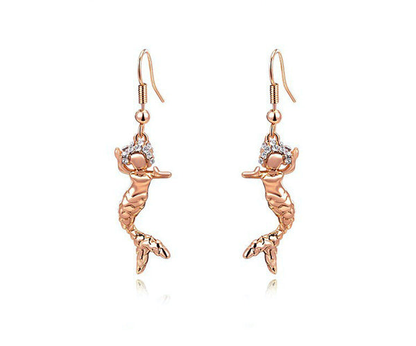 18K Rose Gold Plated Winter Earrings with Simulated Diamond
