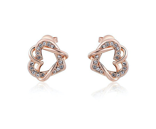 18K Rose Gold Plated Ximena Earrings with Simulated Diamond