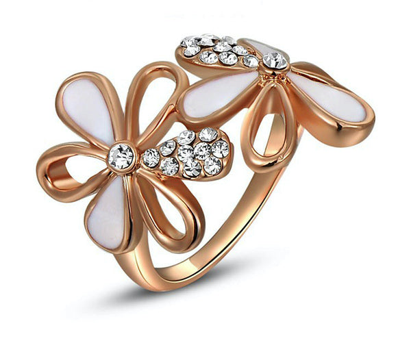 18K Rose Gold Plated Ximena Ring with Simulated Diamond