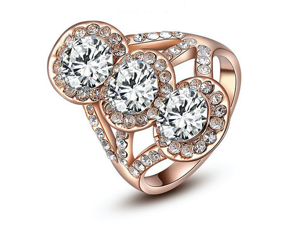 18K Rose Gold Plated Eliza Ring with Simulated Diamond
