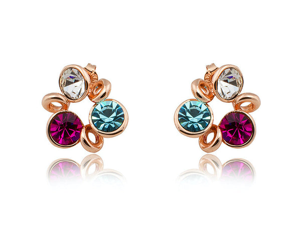 18K Rose Gold Plated Sylvia Earrings with Simulated Diamond