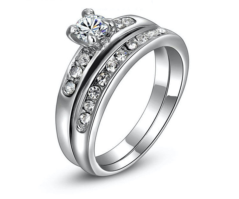 Platinum Plated Abigail Ring with Simulated Diamond