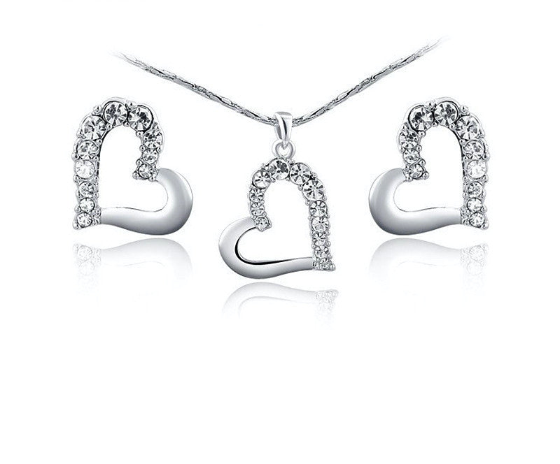 Platinum Plated Adriana Necklace and Earrings Set with Simulated Diamond