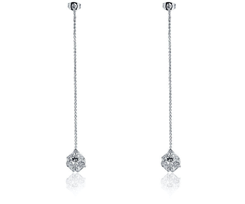 Platinum Plated Aileen Earrings with Simulated Diamond