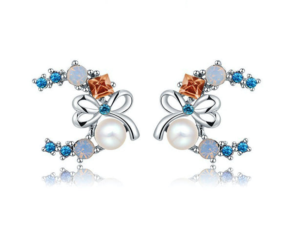 Platinum Plated Aleena Earrings with Simulated Diamond