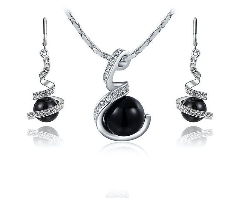 Platinum Plated Alice Necklace and Earrings Set with Simulated Diamond