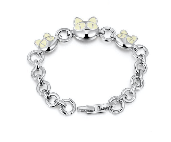 Platinum Plated Alyssa Bracelet with Simulated Diamond