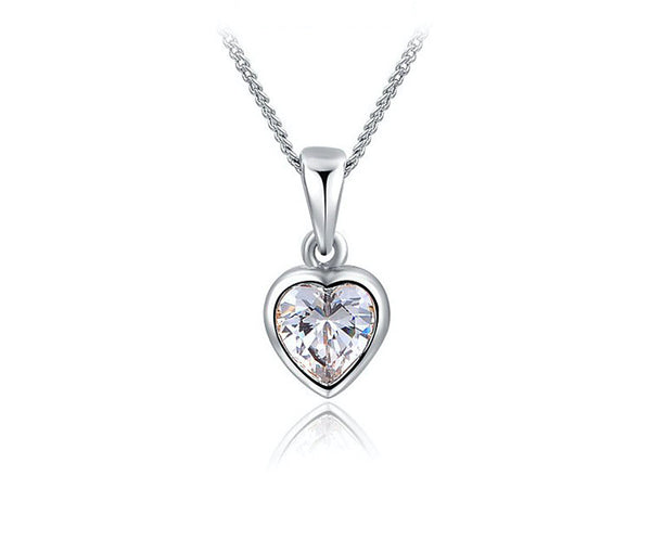Platinum Plated Alyssa Necklace with Simulated Diamond