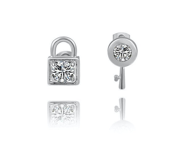 Platinum Plated Annabelle Earrings with Simulated Diamond