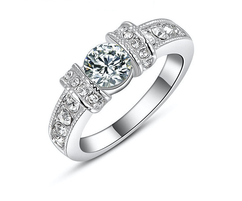 Platinum Plated Annabelle Ring with Simulated Diamond
