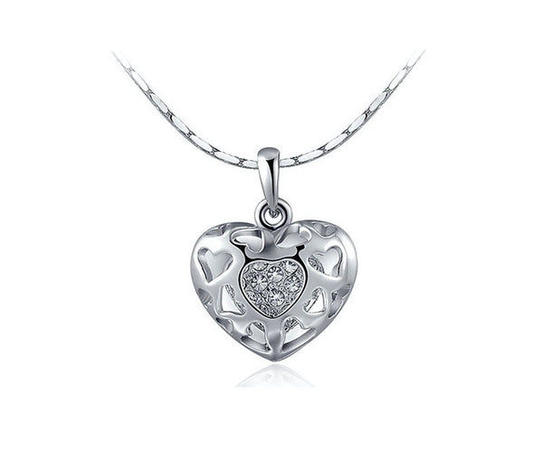 Platinum Plated Arabella Necklace with Simulated Diamond