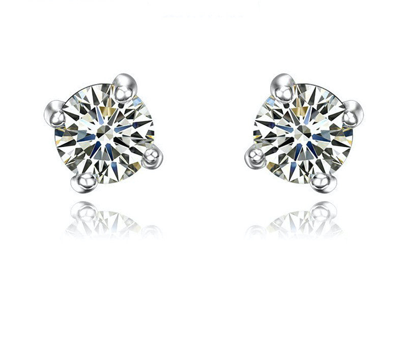 Platinum Plated Aria Earrings with Simulated Diamond