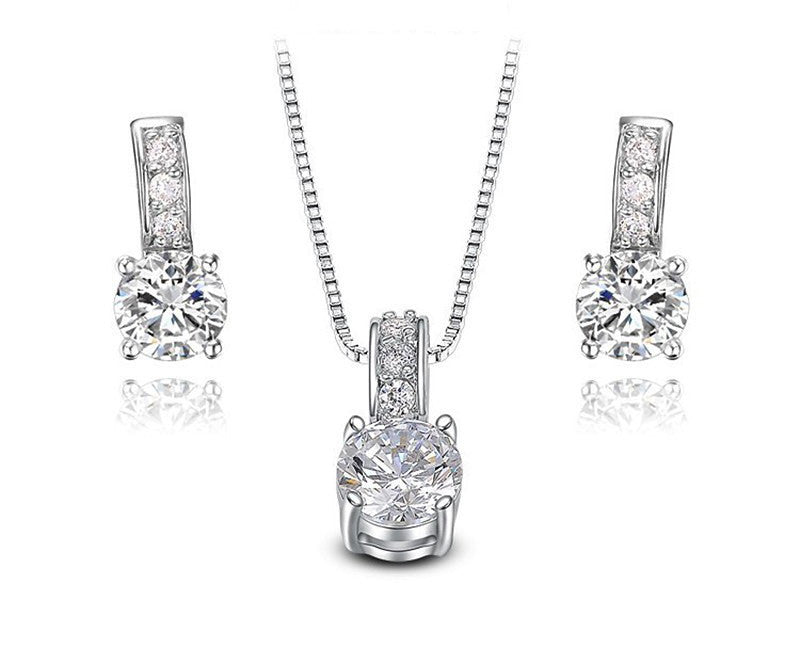 Platinum Plated Ariana Necklace and Earrings Set with Simulated Diamond