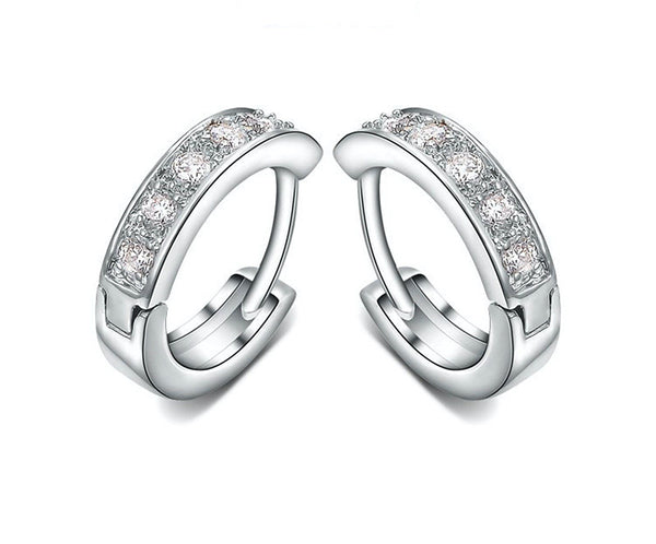 Platinum Plated Arianna Earrings with Simulated Diamond