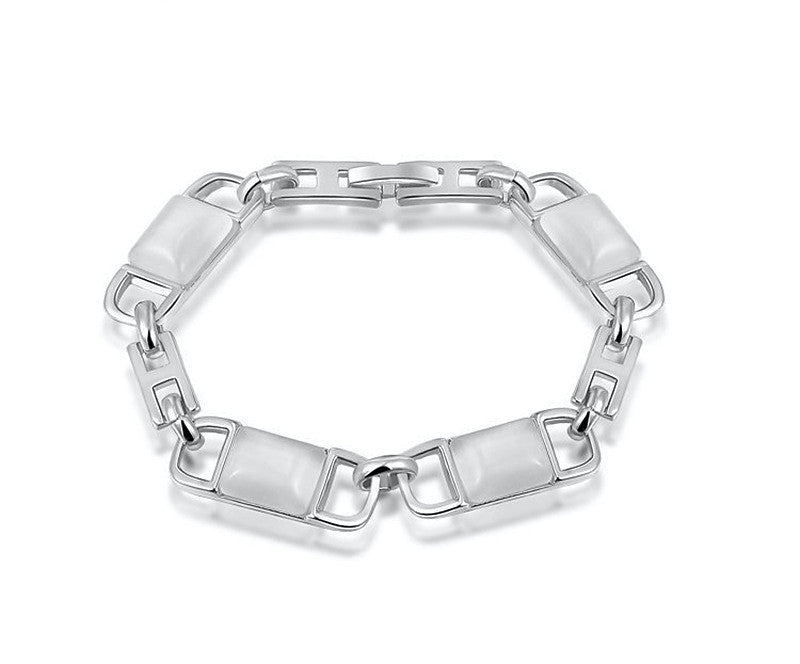 Platinum Plated Ariel Bracelet with Simulated Diamond