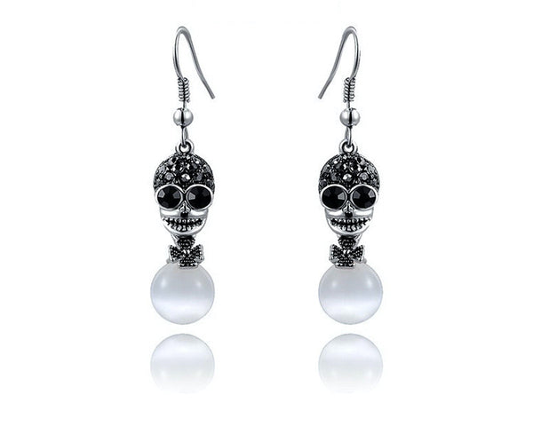 Platinum Plated Athena Earrings with Simulated Diamond
