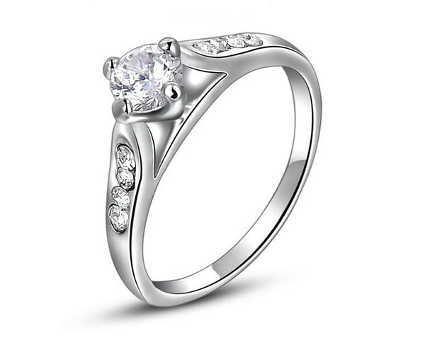 Platinum Plated Aubrey Ring with Simulated Diamond