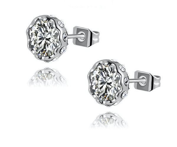 Platinum Plated Audrey Earrings with Simulated Diamond