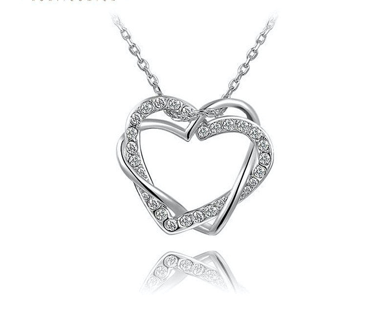 Platinum Plated Avery Necklace with Simulated Diamond