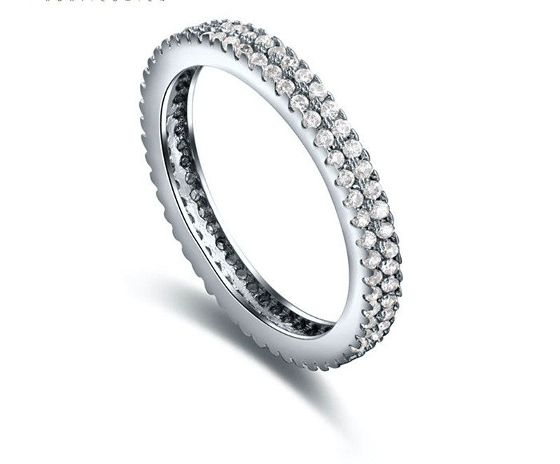 Platinum Plated Ayla Ring with Simulated Diamond
