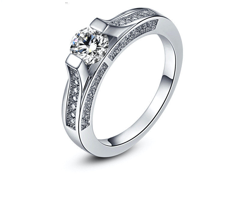 Platinum Plated Blake Ring with Simulated Diamond