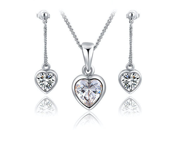Platinum Plated Cadence Necklace and Earrings Set with Simulated Diamond