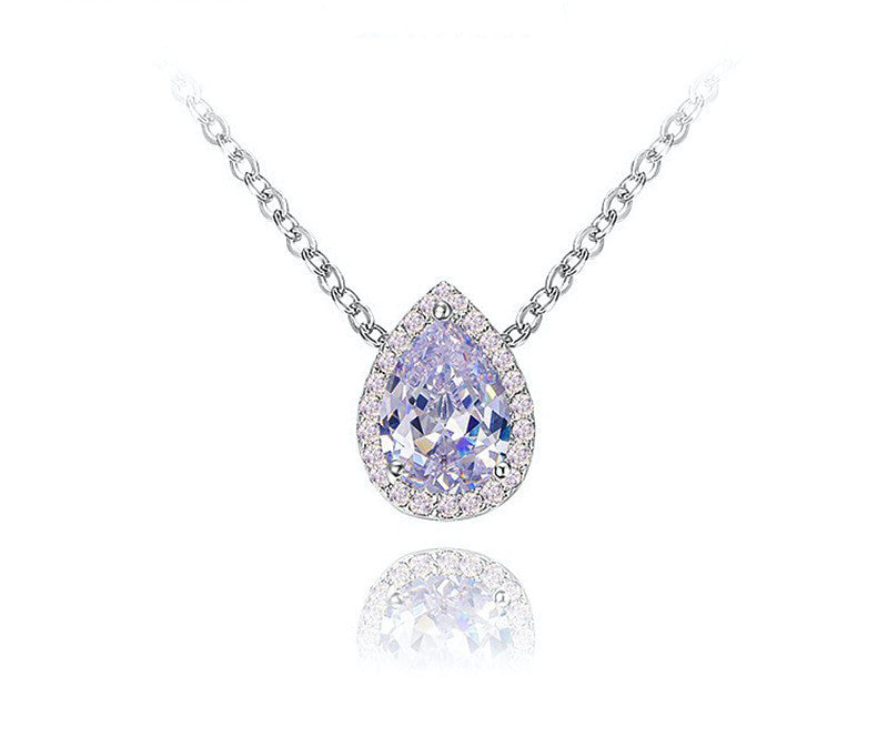 Platinum Plated Camila Necklace with Simulated Diamond