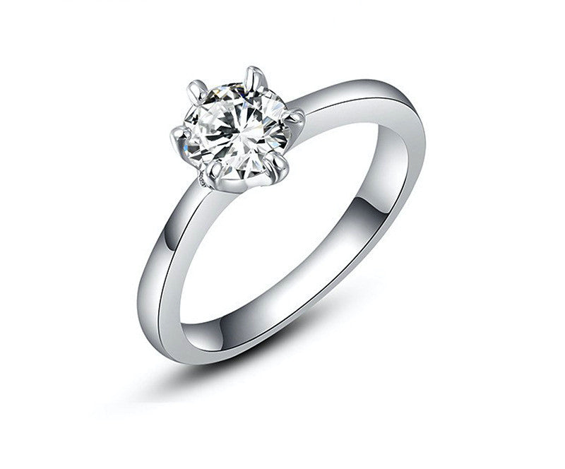 Platinum Plated Camila Ring with Simulated Diamond