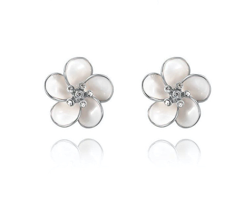 Platinum Plated Carolina Earrings with Simulated Diamond