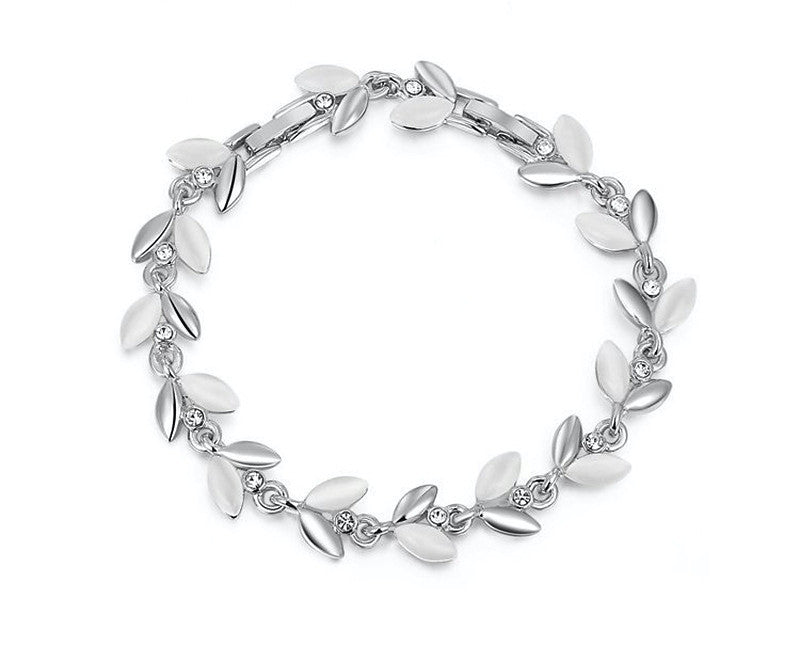 Platinum Plated Caroline Bracelet with Simulated Diamond