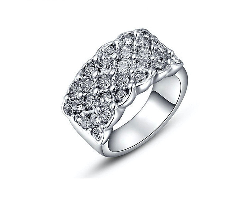 Platinum Plated Caroline Ring with Simulated Diamond