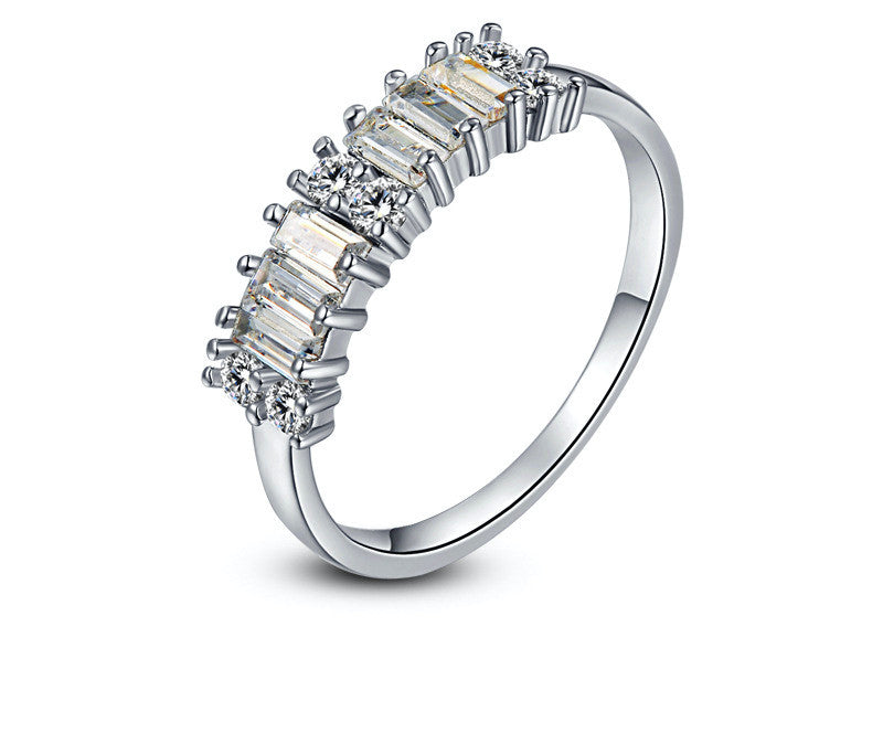 Platinum Plated Cassandra Ring with Simulated Diamond