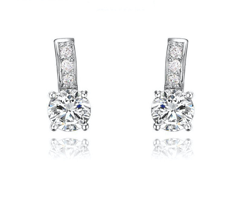 Platinum Plated Charlie Earrings with Simulated Diamond