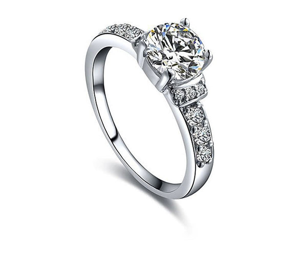 Platinum Plated Charlotte Ring with Simulated Diamond