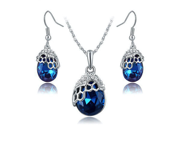 Platinum Plated Cheyenne Necklace and Earrings Set with Simulated Diamond