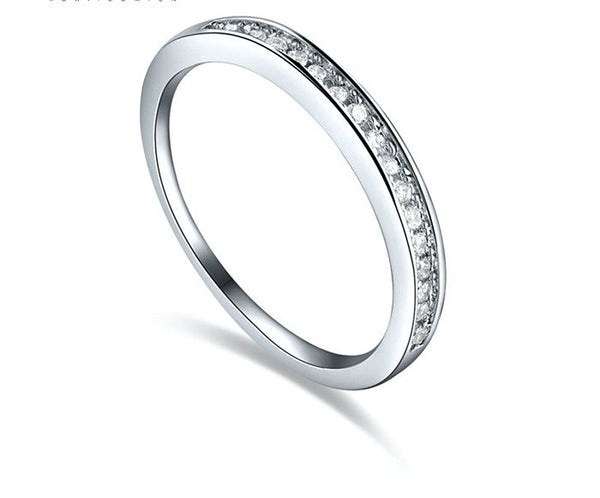 Platinum Plated Chloe Ring with Simulated Diamond