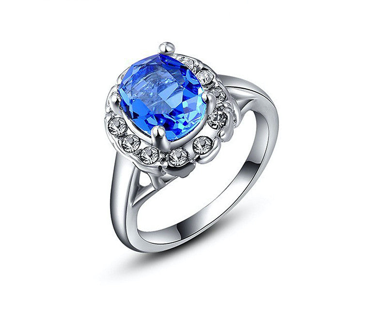 Platinum Plated Clara Ring with Simulated Diamond