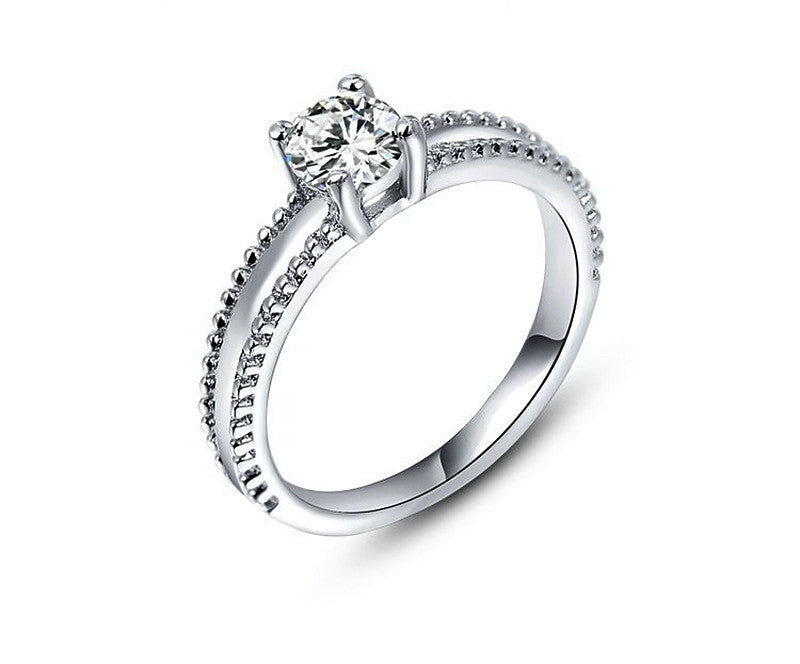Platinum Plated Cora Ring with Simulated Diamond