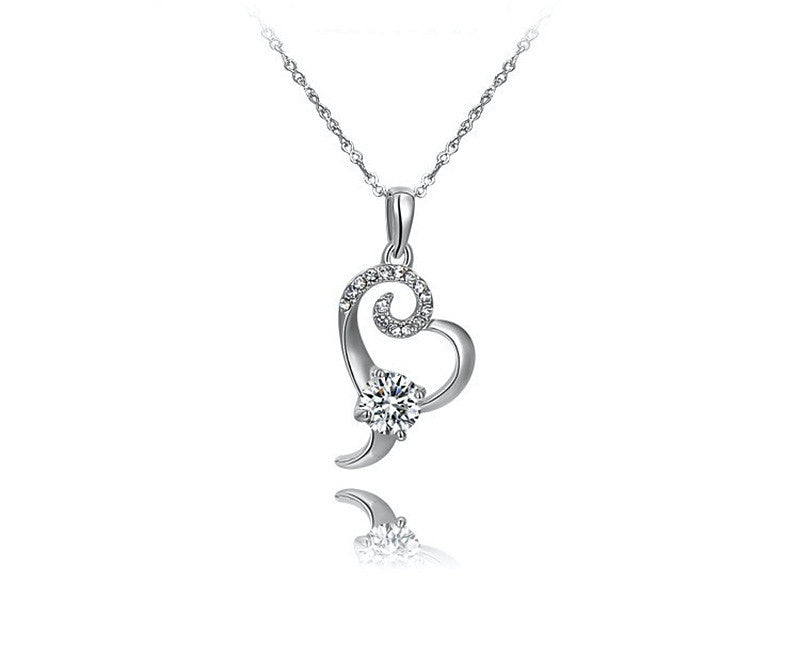 Platinum Plated Daniela Necklace with Simulated Diamond