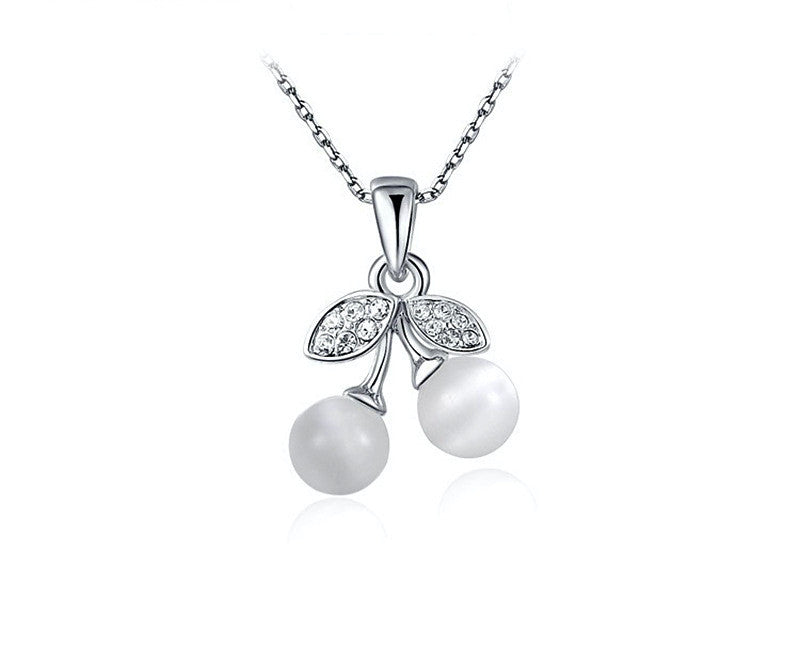 Platinum Plated Delaney Necklace with Simulated Diamond