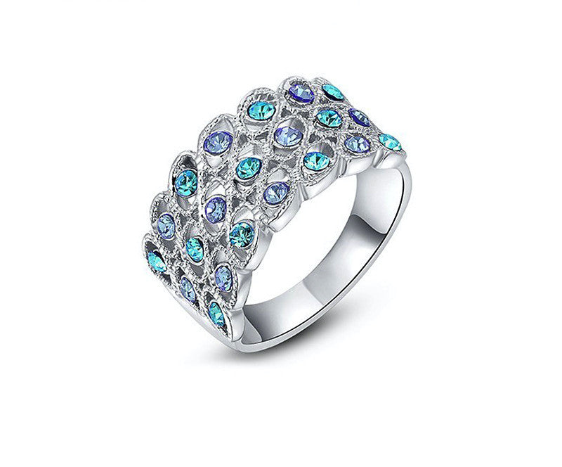 Platinum Plated Delilah Ring with Simulated Diamond