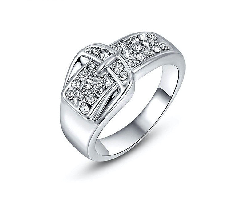 Platinum Plated Eden Ring with Simulated Diamond