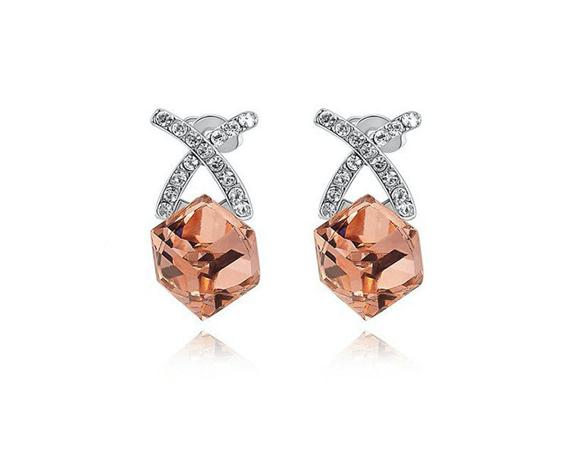 Platinum Plated Edith Earrings with Simulated Diamond