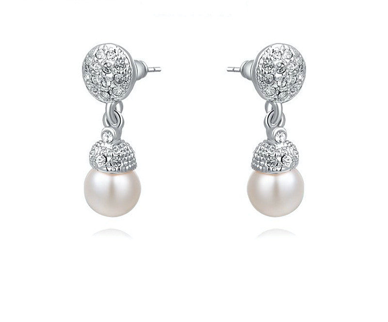 Platinum Plated Elena Earrings with Simulated Diamond
