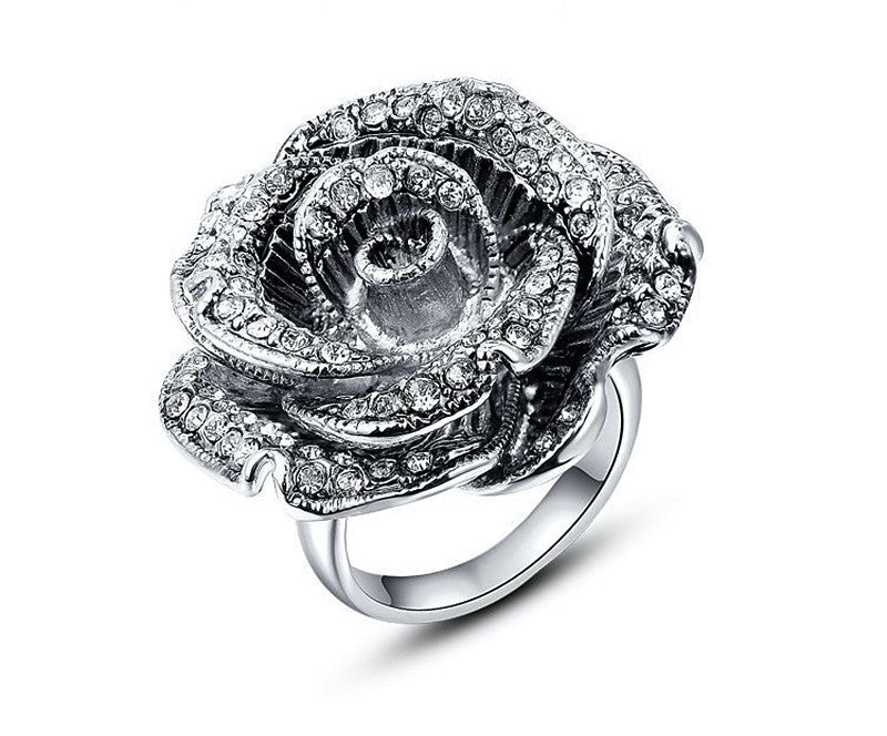 Platinum Plated Elena Ring with Simulated Diamond