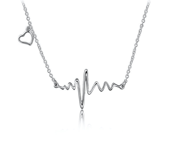 Platinum Plated Elise Necklace with Simulated Diamond